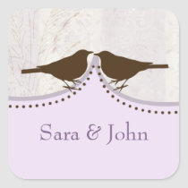 Chic purple bird cage, love birds envelope seal
