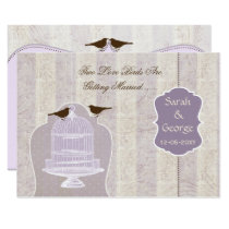 Chic purple bird cage, love birds invites