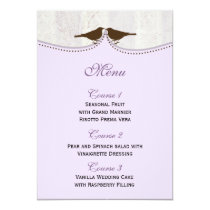 Chic purple bird cage, love birds Menu Cards