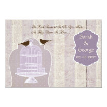Chic purple bird cage, love birds RSVP 3.5 x 5 Card