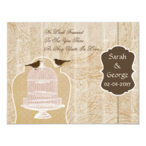 Chic purple bird cage, love birds RSVP Card
