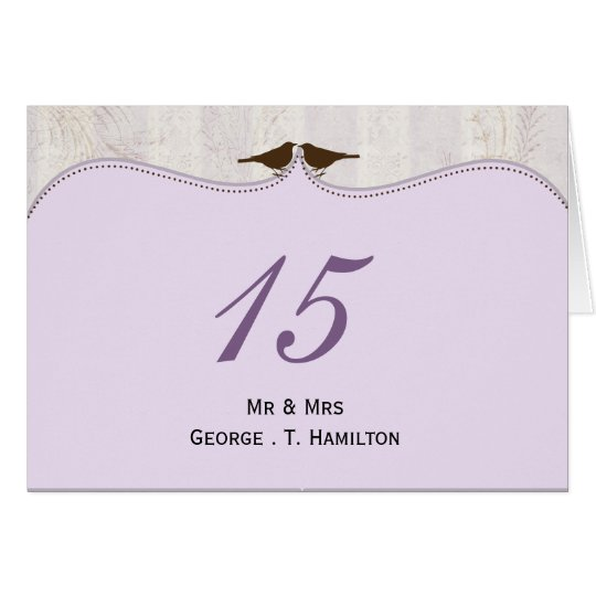 Chic purple bird cage, love birds table numbers