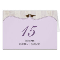 Chic purple bird cage, love birds table numbers card