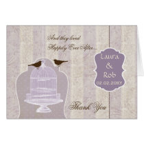 Chic purple bird cage, love birds Thank You Card
