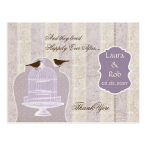 Chic purple bird cage, love birds Thank You Postcard