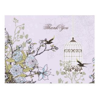 Chic purple bird cage, love birds Thank You Postcard