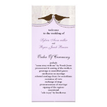 Chic purple bird cage, love birds wedding programs