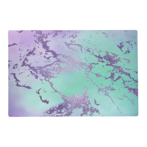 Chic Purple Blue Mermaid Watercolor Ombre Marble Placemat