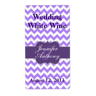 Chic Purple Chevron Modern Wedding Mini Wine Label