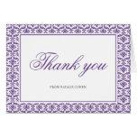 Chic Purple Damask Bat Mitzvah Thank You Stationery Note Card