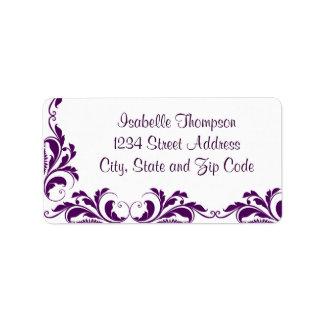Chic Purple Damask Flourish Border Address Label