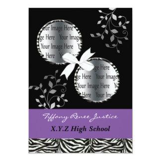 chic purple double photo Graduation Card