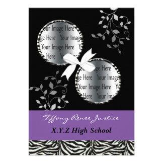 chic purple double photo Graduation Personalized Announcement