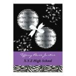 chic purple double photo Graduation 5x7 Paper Invitation Card