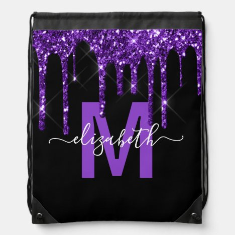 Chic Purple Dripping Glitter Monogram Name Drawstring Bag