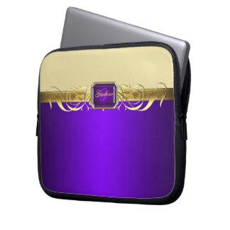 Chic Purple Faux Gold Scroll Trendy Laptop Sleeve