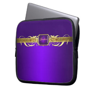 Chic Purple Faux Gold Scroll Two Tone Laptop Laptop Sleeves