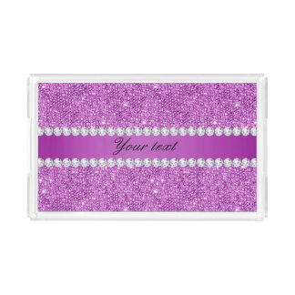 Chic Purple Faux Sequins and Diamonds Acrylic Tray