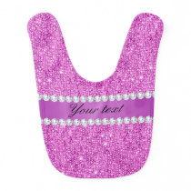 Chic Purple Faux Sequins and Diamonds Baby Bib