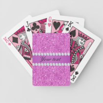 Chic Purple Faux Sequins and Diamonds Bicycle Playing Cards