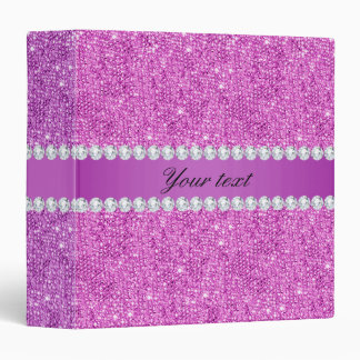 Chic Purple Faux Sequins and Diamonds Binder