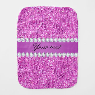 Chic Purple Faux Sequins and Diamonds Burp Cloth