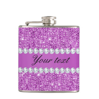 Chic Purple Faux Sequins and Diamonds Hip Flask