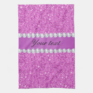 Chic Purple Faux Sequins and Diamonds Kitchen Towel
