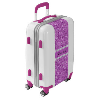 Chic Purple Faux Sequins and Diamonds Luggage