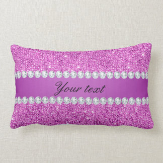 Chic Purple Faux Sequins and Diamonds Lumbar Pillow