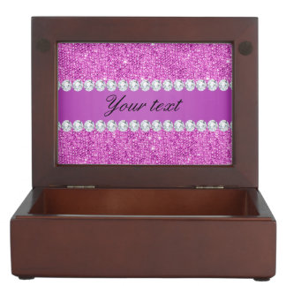Chic Purple Faux Sequins and Diamonds Memory Box