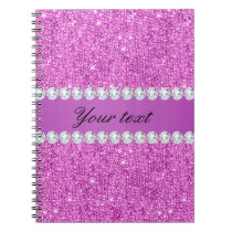 Chic Purple Faux Sequins and Diamonds Notebook