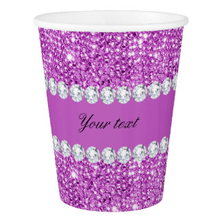 Chic Purple Faux Sequins and Diamonds Paper Cup