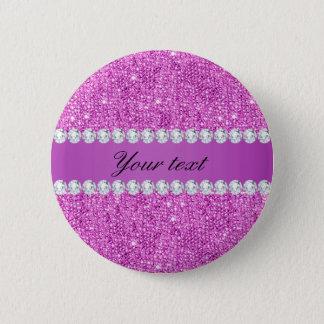 Chic Purple Faux Sequins and Diamonds Pinback Button