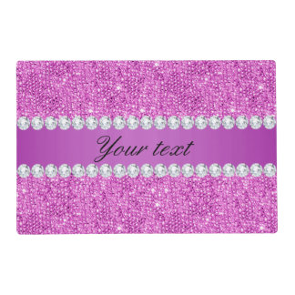 Chic Purple Faux Sequins and Diamonds Placemat