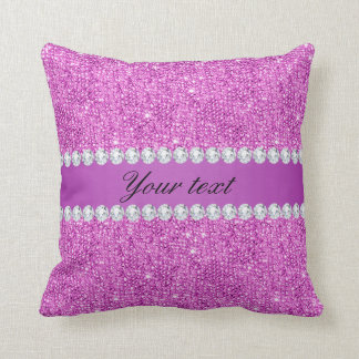 Chic Purple Faux Sequins and Diamonds Throw Pillow