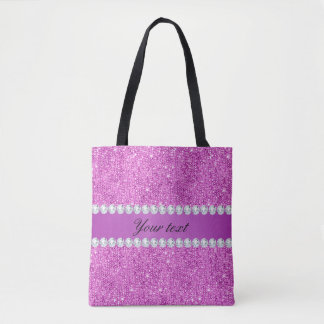 Chic Purple Faux Sequins and Diamonds Tote Bag