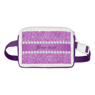 Chic Purple Faux Sequins and Diamonds Waist Bag