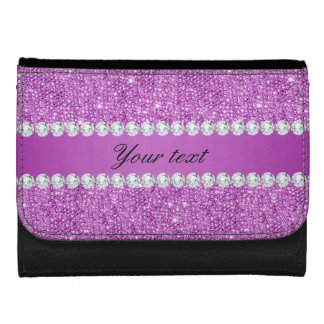 Chic Purple Faux Sequins and Diamonds Wallet