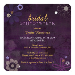 Chic Purple Floral Chalkboard Bridal Shower Invitation