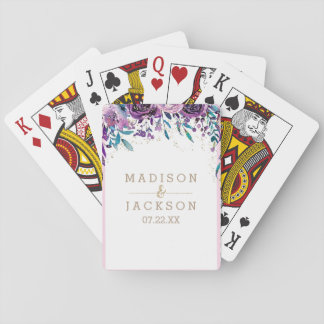 Chic Purple Floral Champagne Gold Wedding Favor Playing Cards
