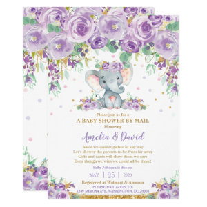 Purple Virtual Baby Shower by Mail Invitations, Floral Elephant