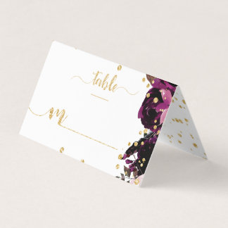 Chic Purple Floral & Gold Confetti Table Number Place Card
