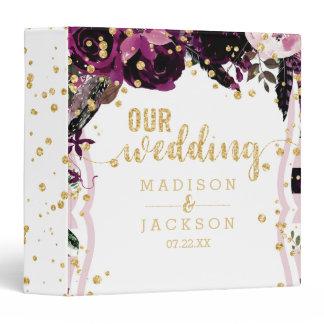 Chic Purple Floral & Gold Wedding Photo Album 3 Ring Binder