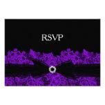 Chic Purple Floral Lace RSVP Custom Invitations