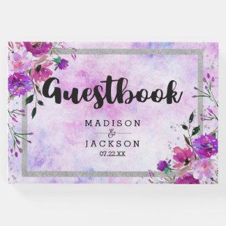Chic Purple Floral & Silver Frame Wedding Monogram Guest Book