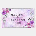 Chic Purple Floral & Silver Frame Wedding Monogram Rectangular Sticker