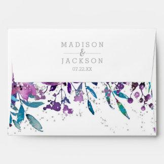Chic Purple Floral & Silver Wedding Monogram Envelope