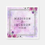 Chic Purple Floral & Silver Wedding Monogram Napkin