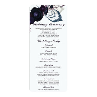 Chic Purple Floral Winter Wedding Program Card